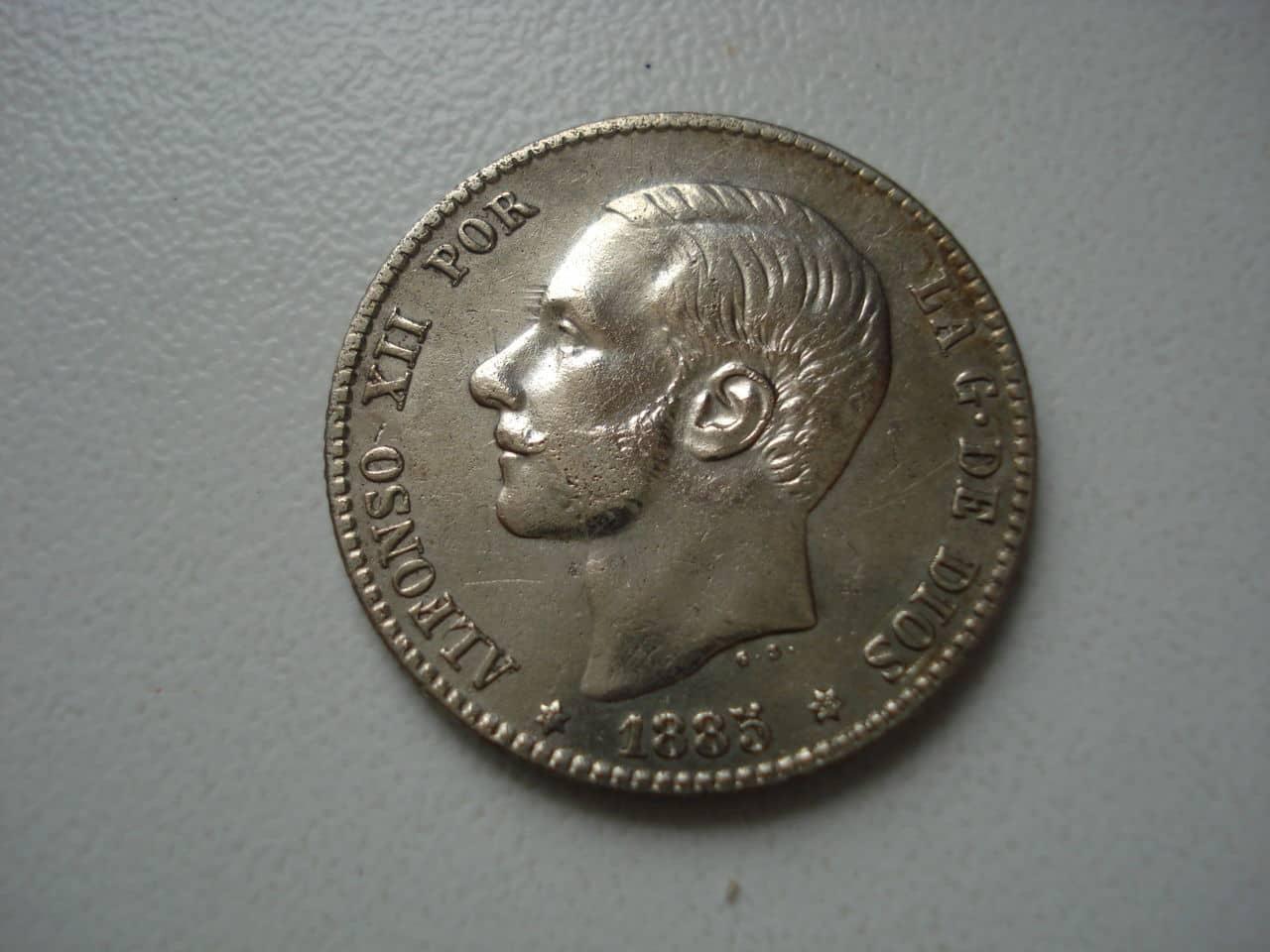 1 peseta 1885 *18-86. Alfonso XII Monedas_002