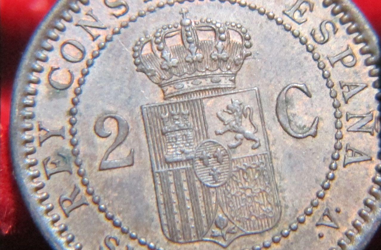 2 Céntimos 1905 SMV. Alfonso XIII. Madrid. Detalleanv