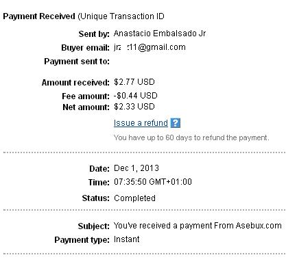 1º Pago de Asebux ( $2,77 ) Asebuxpayment