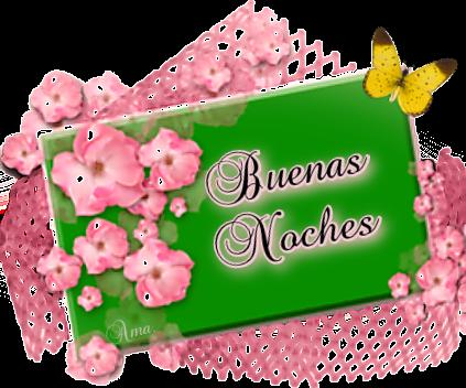 Flores Rosas sobre Tarjeta en Verde  NOCHES