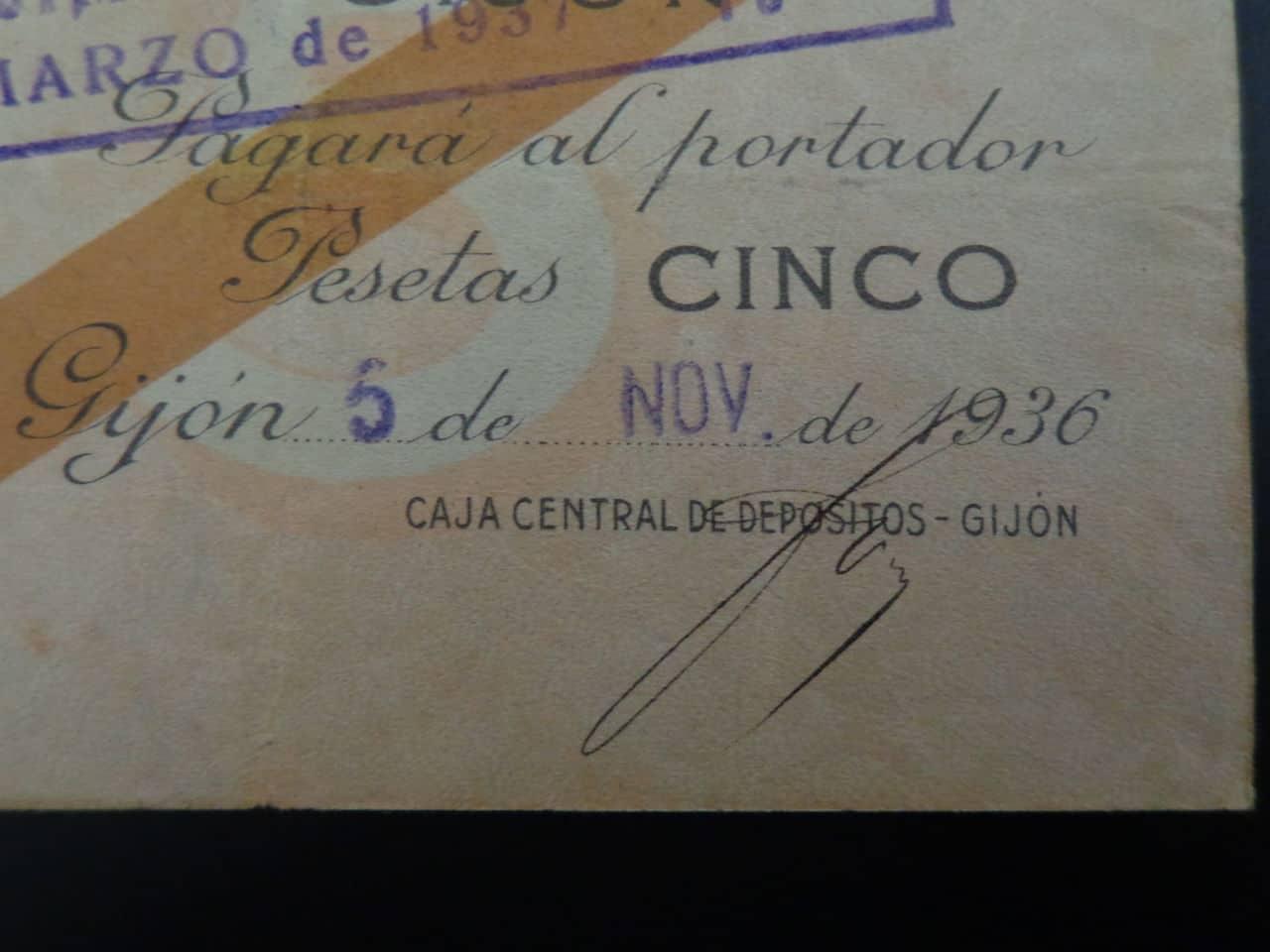 5 Pesetas 5 Noviembre 1936, Banco de España (Gijón)  DSC00674