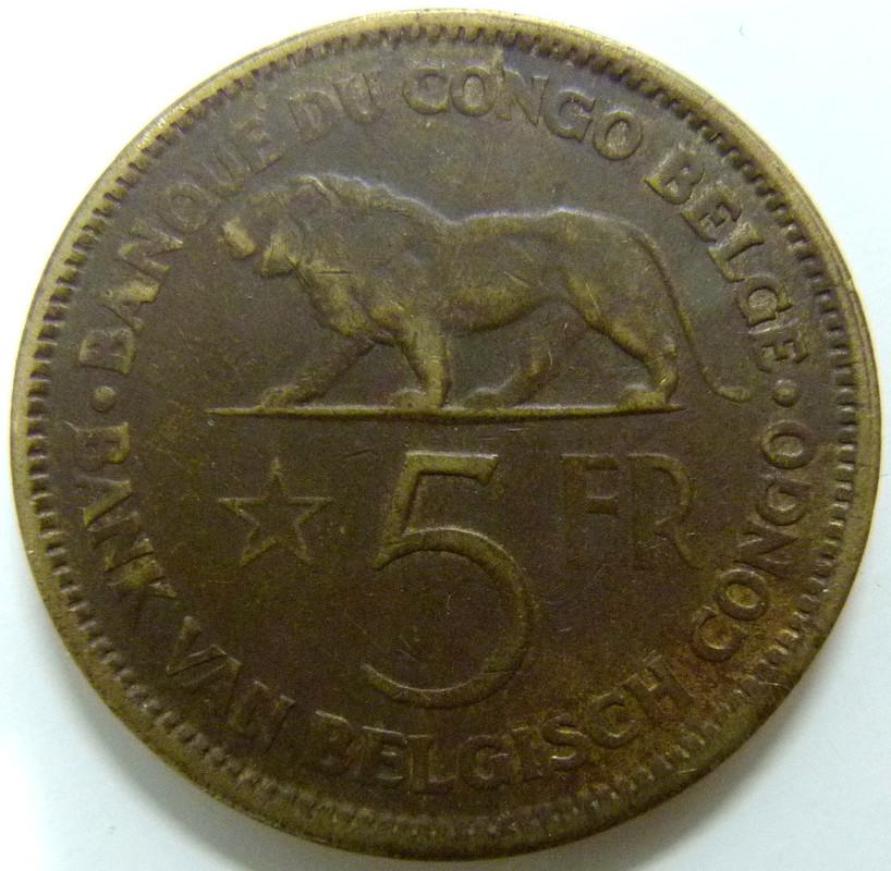 Congo Belga. 5 Francos (1936) RDC_5_Francos_1936_rev