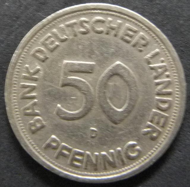 República Federal Alemana. 50 Pfennig (1949) RFA_50_Pfennig_Bank_Deutscher_L_nder_anv