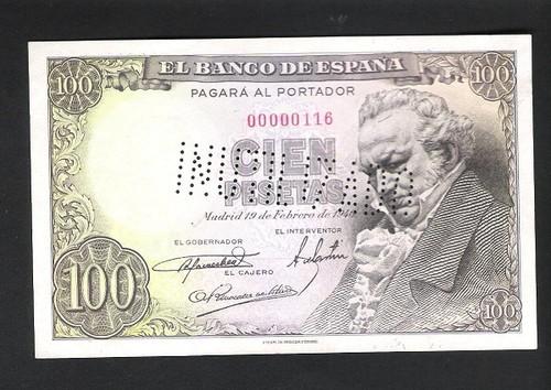 BONITO BILLETE DE 100 PESETAS DE 1946!!!NÚMERO BAJO E INUTILIZADO. 100_pesetas_goya