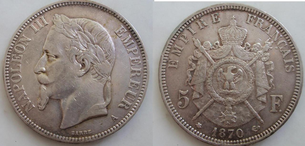 Post I 5 Francos 1870 Napoleón III. LA BATALLA DE SEDÁN. 0_05_f_1870