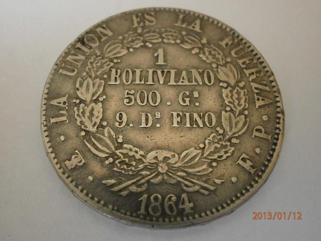 1 Boliviano. Bolivia. 1864.  Potosi P1120012