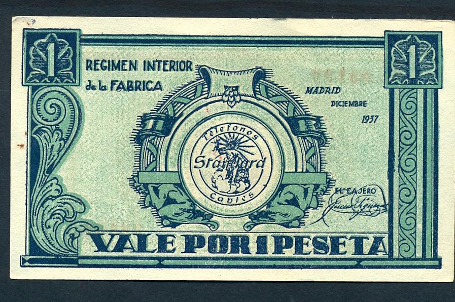 1 Peseta Standard Eléctrica, SA 1937 (Madrid) Pue5