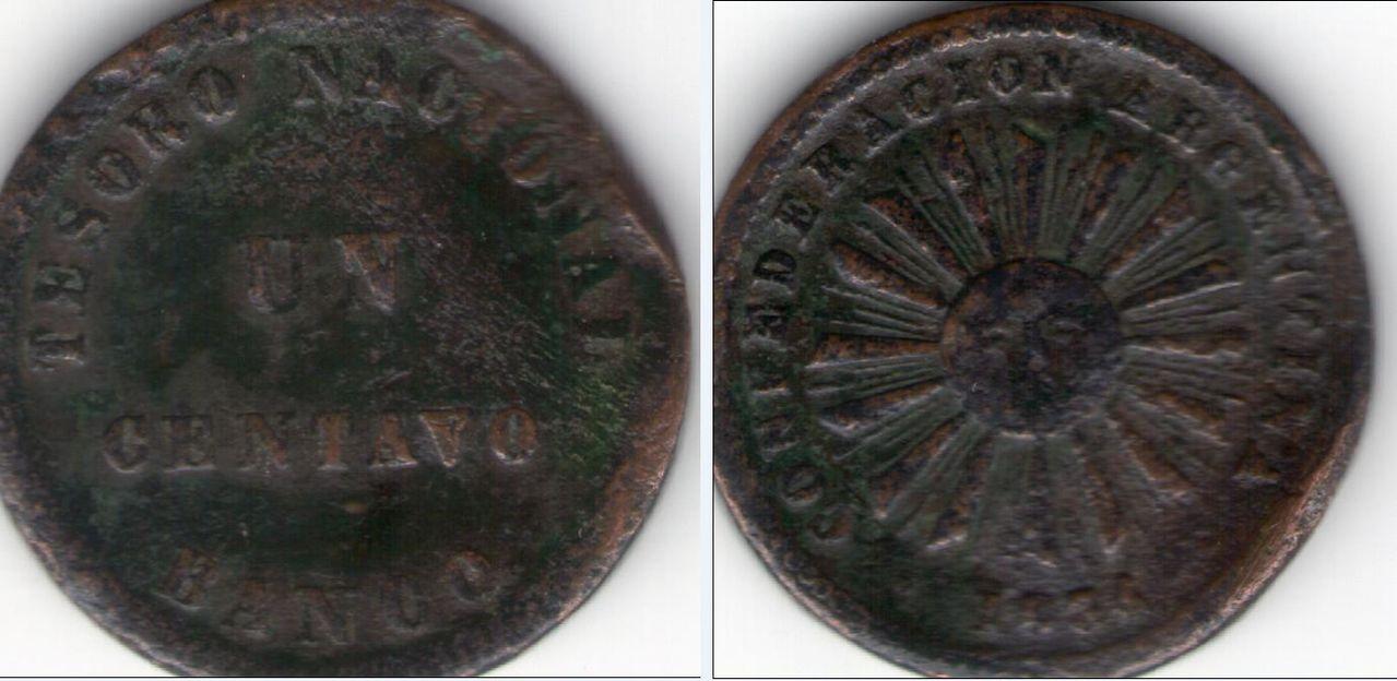 Un centavo. Argentina. 1854. TESORO NACIONAL. Anv_y_rev_Un_centavo_Tesoro_nacional