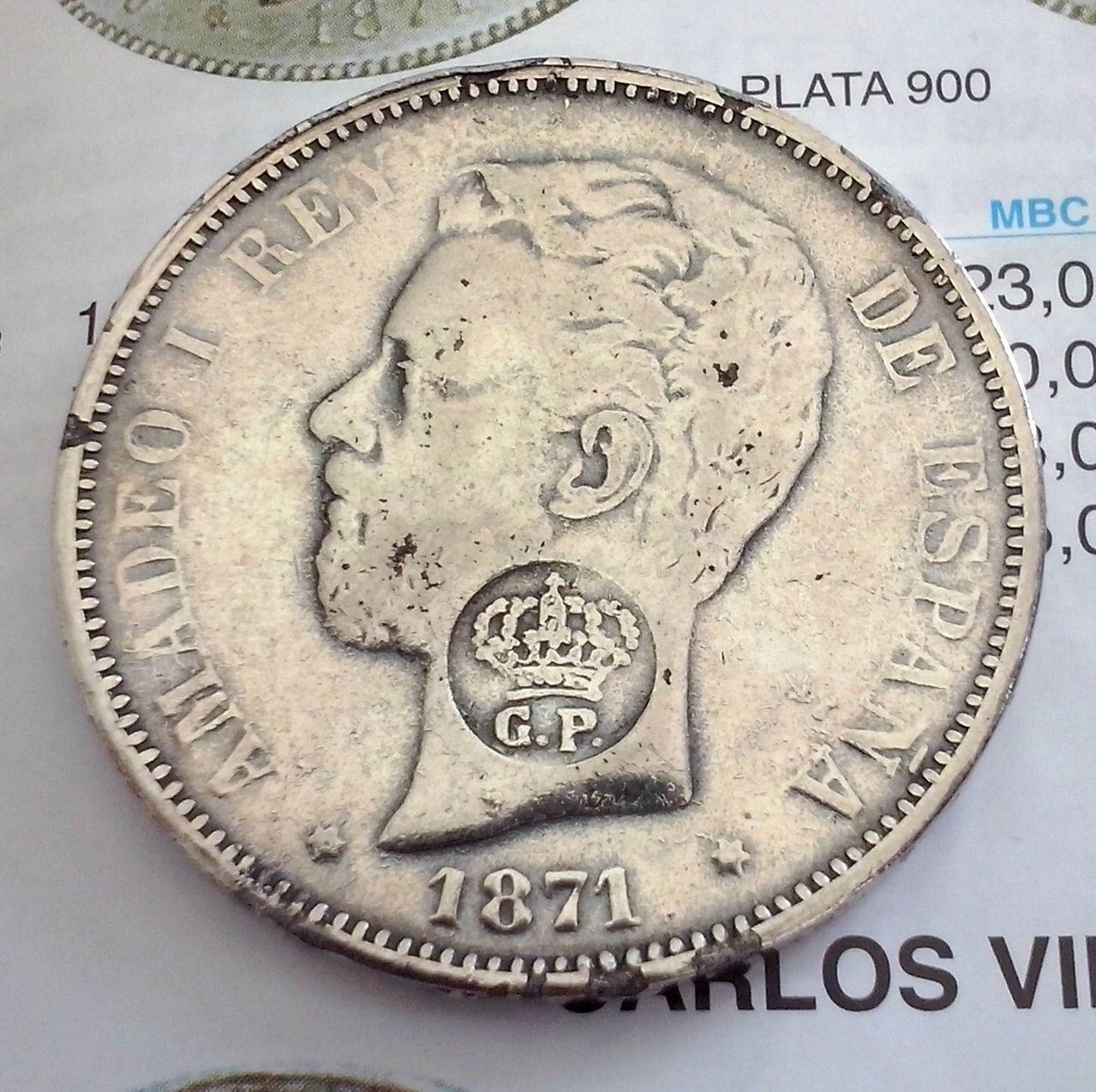 5 pesetas de 1871. Resello GP. Amadeo I.  CAM00820_1