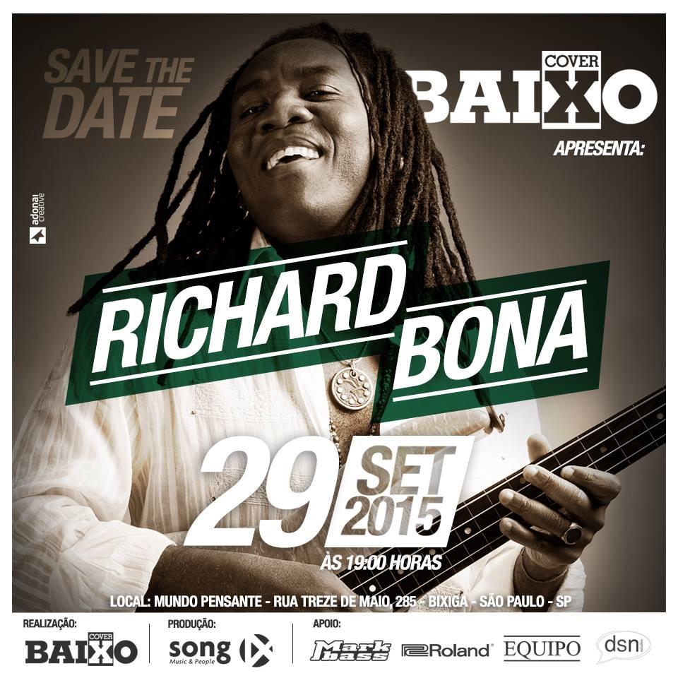 Richard Bona em São Paulo - dia 29/Setembro - no Mundo Pensante SVD