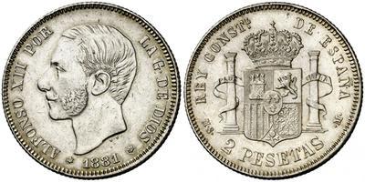 2 pesetas 1881. Alfonso XII 1893221.m