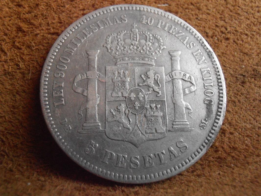 5 Pesetas 1876. Alfonso XII. Oreja rayada P2250003