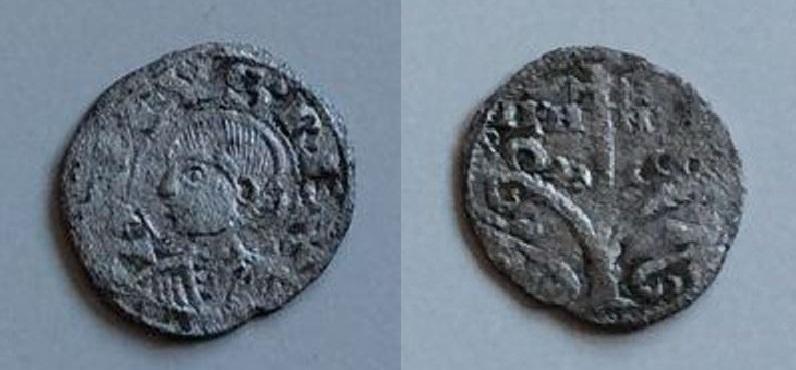 """Óbolo de Alfonso I """"El batallador"""" (Jaca, 1104-1134). Obolo_anv"""