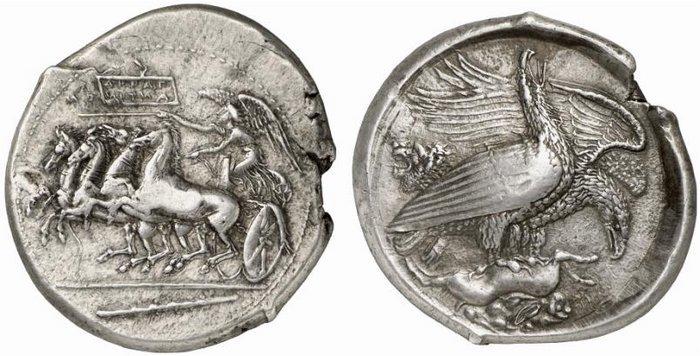 Tetradracma eubeo-ático. Akragas. 409-406 A.C. Magistrado Silanos. Uno de mis sueños al fin cumplido. Tetra_nomos
