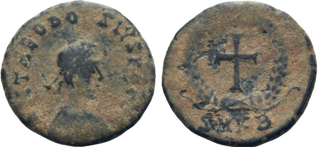 AE4 de Teodosio II. Cruz dentro de corona. AE4_TEO_II_SMKB