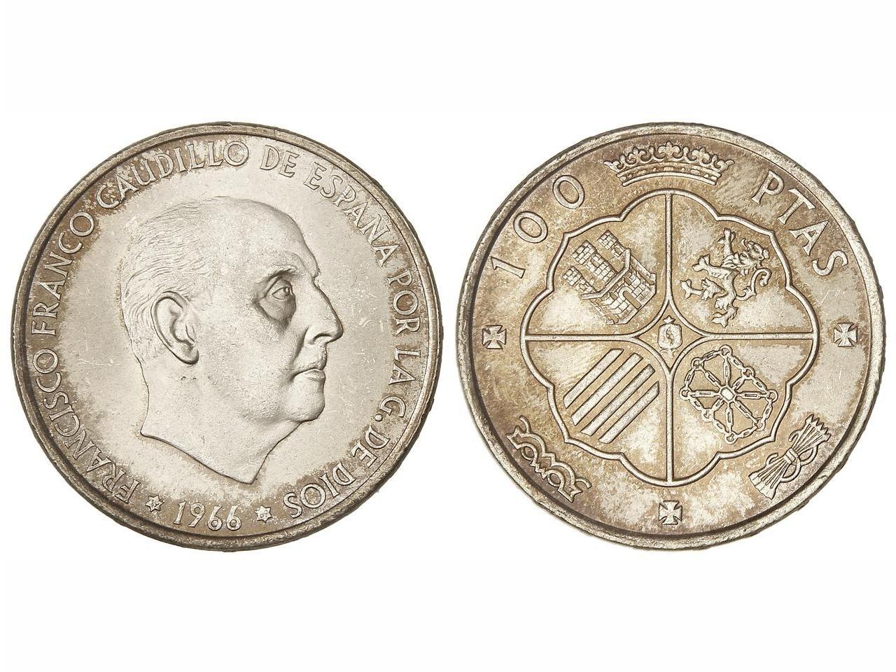 100 pesetas 1966 *69  (Palo Curvo) Estado Español Image