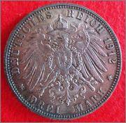3 Mark. Alemania, Estado Hamburgo. 1912. Hamburgo 3_Mark_Hamburg_Rev