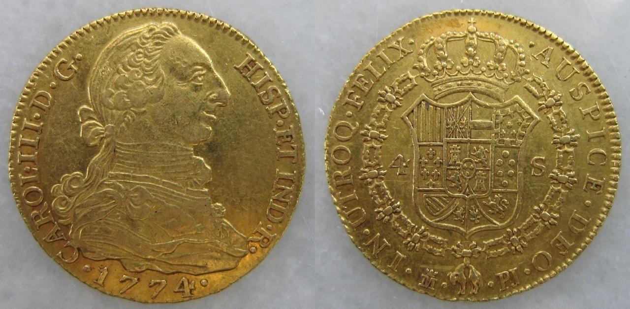 4 Escudos 1774. Carlos III. Madrid. 4_escudos_Madrid_1774_Carlos_III