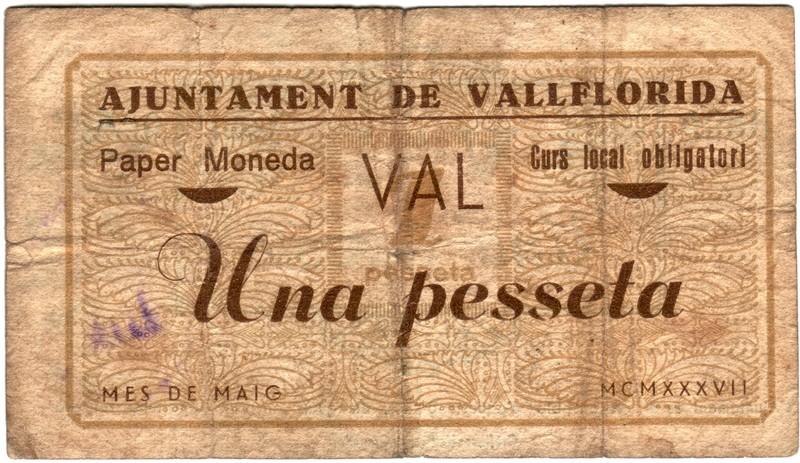 1 Peseta Vallflorida,  MCMXXXVII Vallflorida1