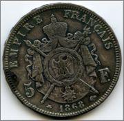 5 f francia 1868 '' falsa overdad'' Image