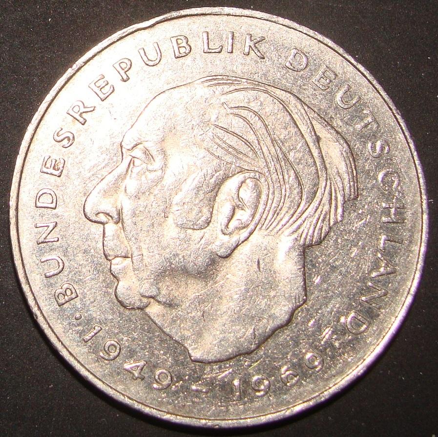 2 Marcos. República Federal Alemana (1989). Theodor Heuss RFA_2_Marcos_Theodor_Heuss_rev