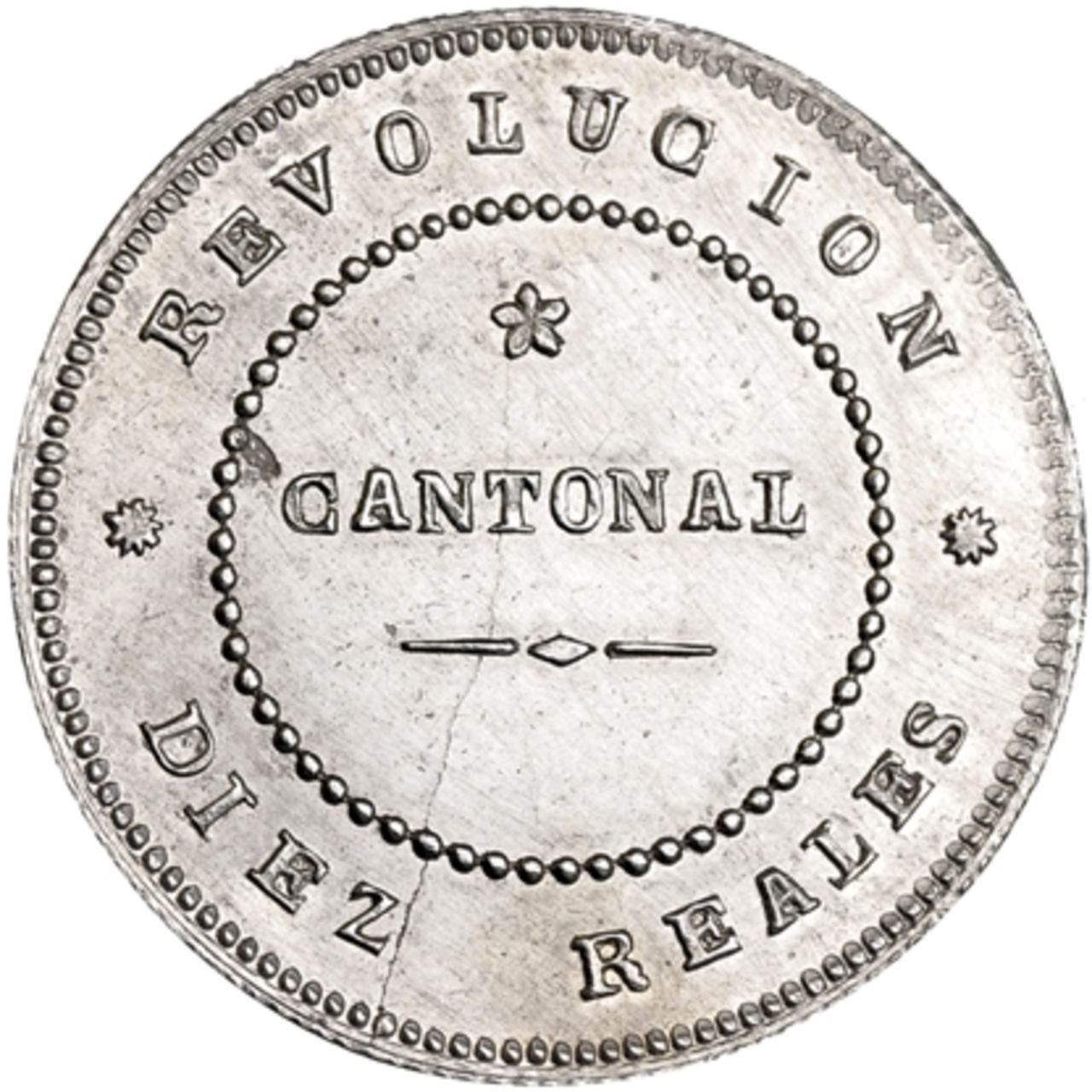 10 reales. 1873. Cartagena. Milagros Jover Navarro dedit, mi madre. 738a