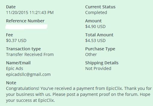 2º Pago de EpicClix ( $4,53 ) Epicclixpayment