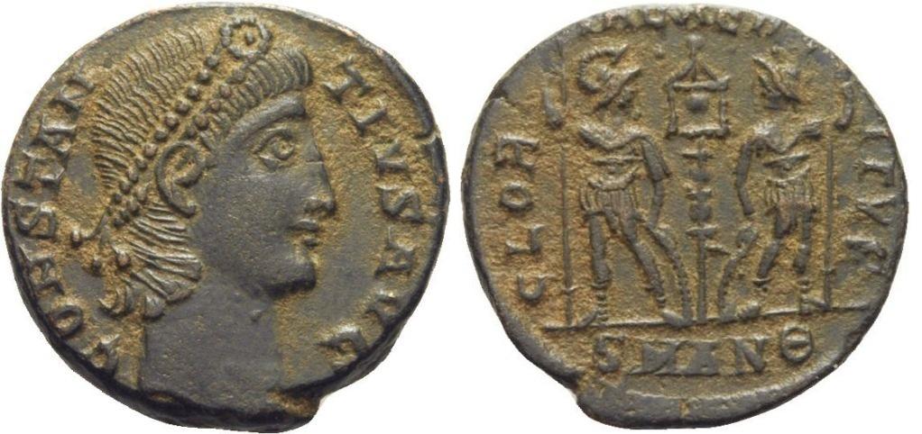 AE4 de Constancio II. GLORIA EXERCITVS. Soldados entre un estandarte. Antioquía Ant_9_off