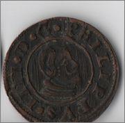 16 maravedis 1663 Felipe IV Cuenca con marcas verticales Cuenca2
