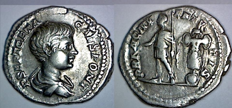 Denario de Geta. PRINC IVVENTVTIS. Geta estante a izq. con trofeo. Roma. Image