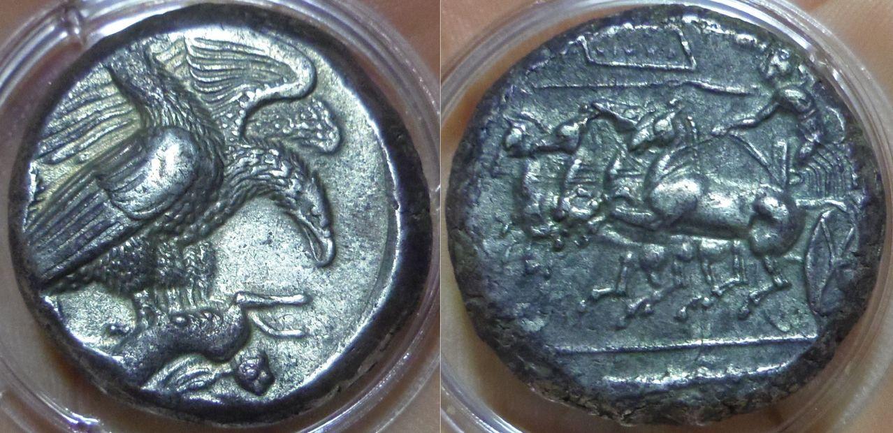 Tetradracma eubeo-ático. Akragas. 409-406 A.C. Magistrado Silanos. Uno de mis sueños al fin cumplido. IMGP3631