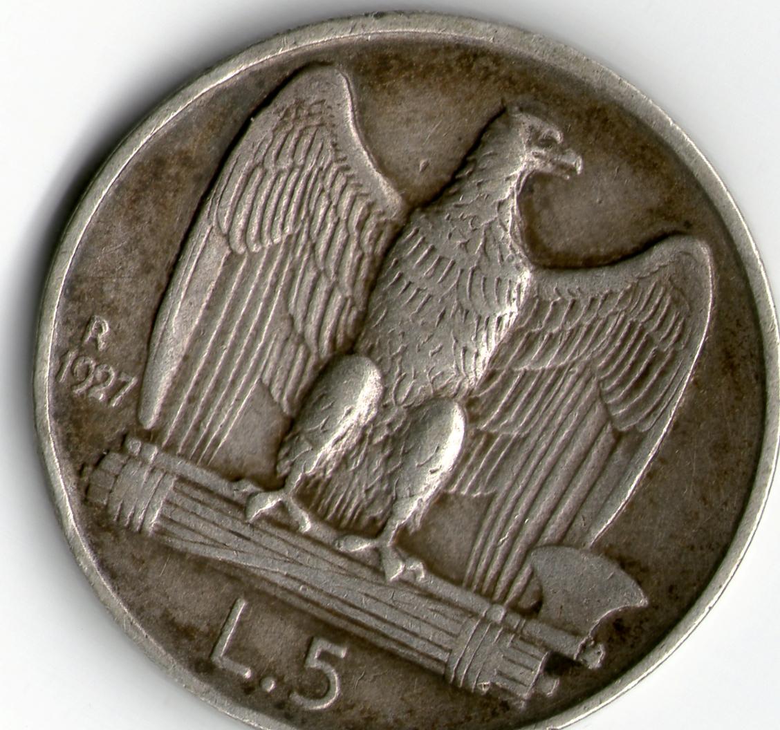 5 Liras Italia 1927 Reverso_5_liras
