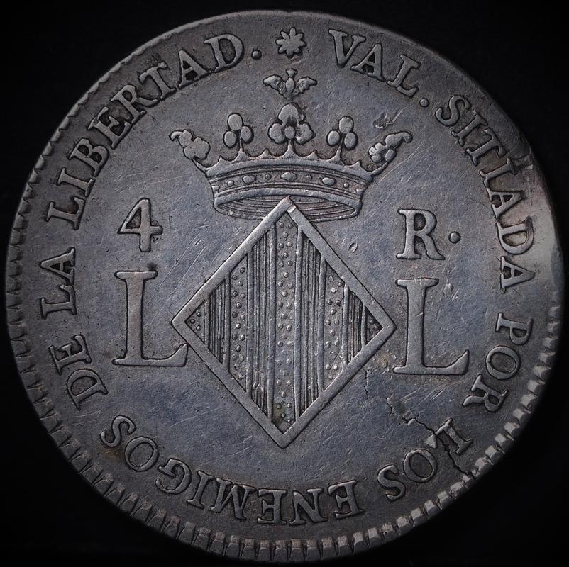 4 reales 1823. Fernando VII Valencia. Image
