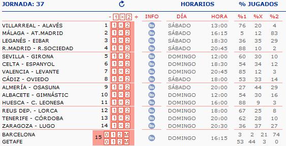 LA QUINIELA DE ZONAMALAGUISTA. J23ª (10-11 Febrero) Q_HORARIOS