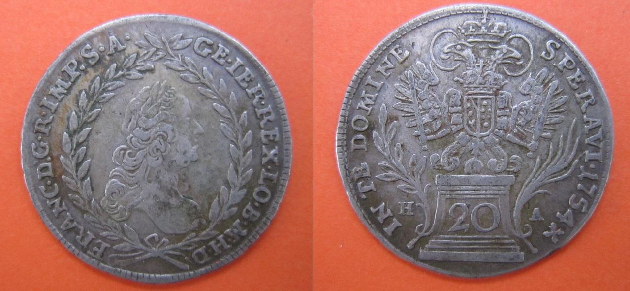 20 kreuzer 1754. Austria 20_Kreuzer_1754_Austria