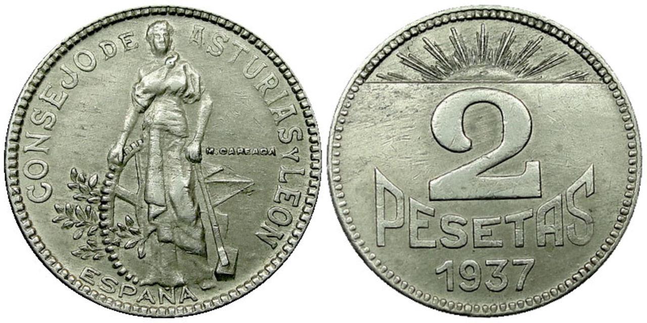 2 Pesetas 1937. Consejo de Asturias y León. Guerra Civil Española. SC ASTURIAS_2_P