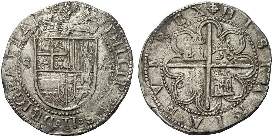 Elección 8 reales macuquinos de Felipe II, Sevilla Image