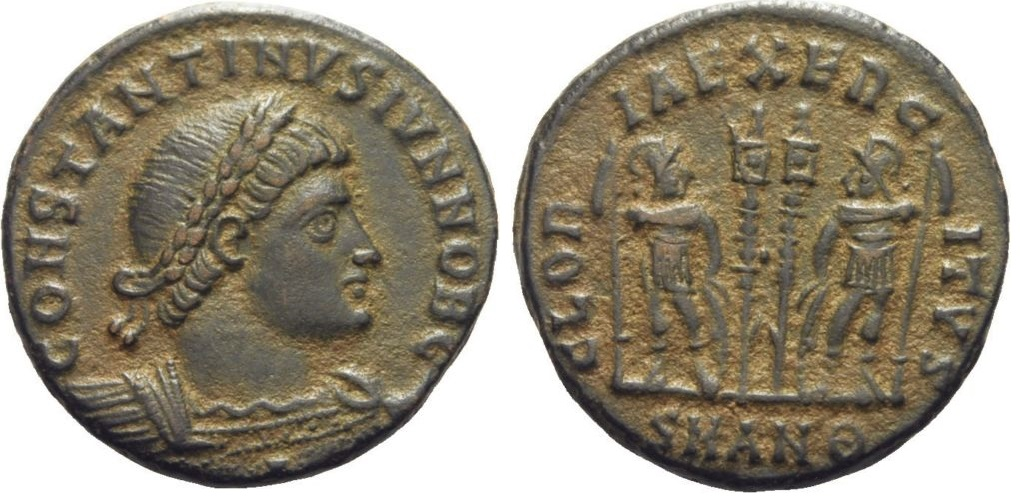 AE3 de Constantino II. GLORIA EXERCITVS. Soldados entre dos estandartes. Antioquía Ant_9_off_2