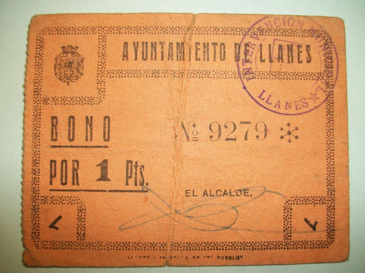 1 Pta. Ayuntamiento de LLanes (Asturias), 1937 Ayuntamiento_de_Llanes_1_Pta_Anv