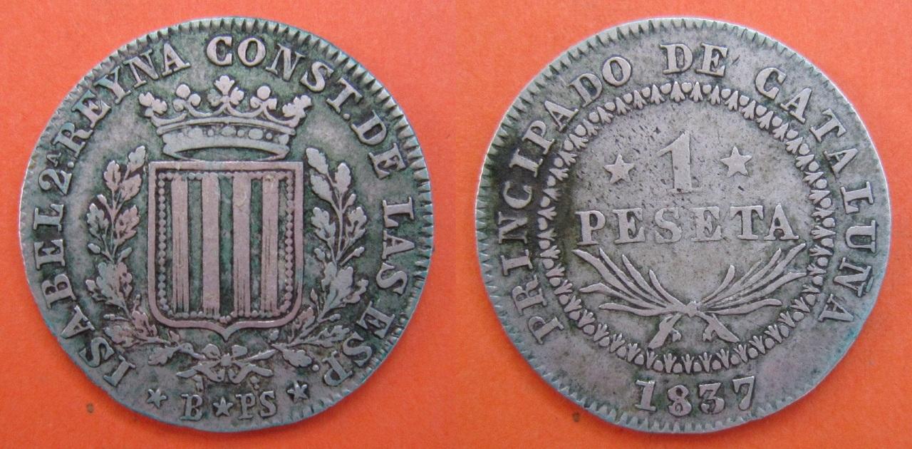 1 Peseta 1837. Isabel II. Barcelona. 1_peseta_1837_Barcelona_Isabel_II