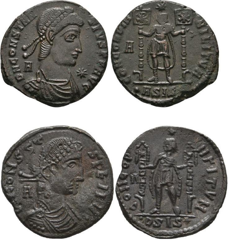 Contramarca de Cruz en un AE3 de Constancio II FEL TEMP REPARATIO - Arles Concord_comparativo