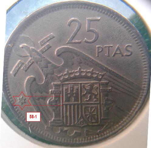 Geometría de las estrellas de las monedas de 25 pesetas 1957* 58_1_E