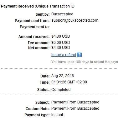 4º Pago de Buxaccepted ( $4,30 ) Buxacceptedpayment