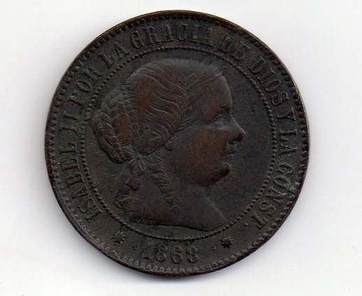5 centimos de escudo 1868 Barcelona, Isabel II Img008