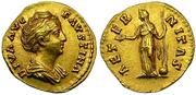 Aureo de Faustina I. AETERNITAS.  Fortuna de pie a izq. Ceca Roma. Au5_bis