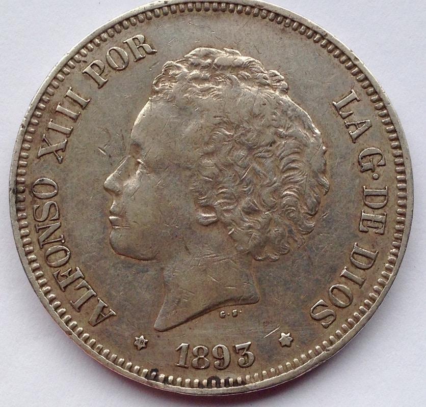5 pesetas 1893. Alfonso XIII. REVERSO12 Dedit Image