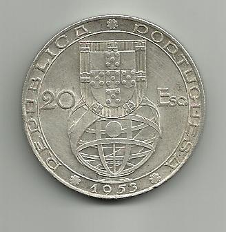 20 escudos portugueses 1953  Renovación financiera 20_escudos_1953_Portugal_renovaci_n_financiera_r