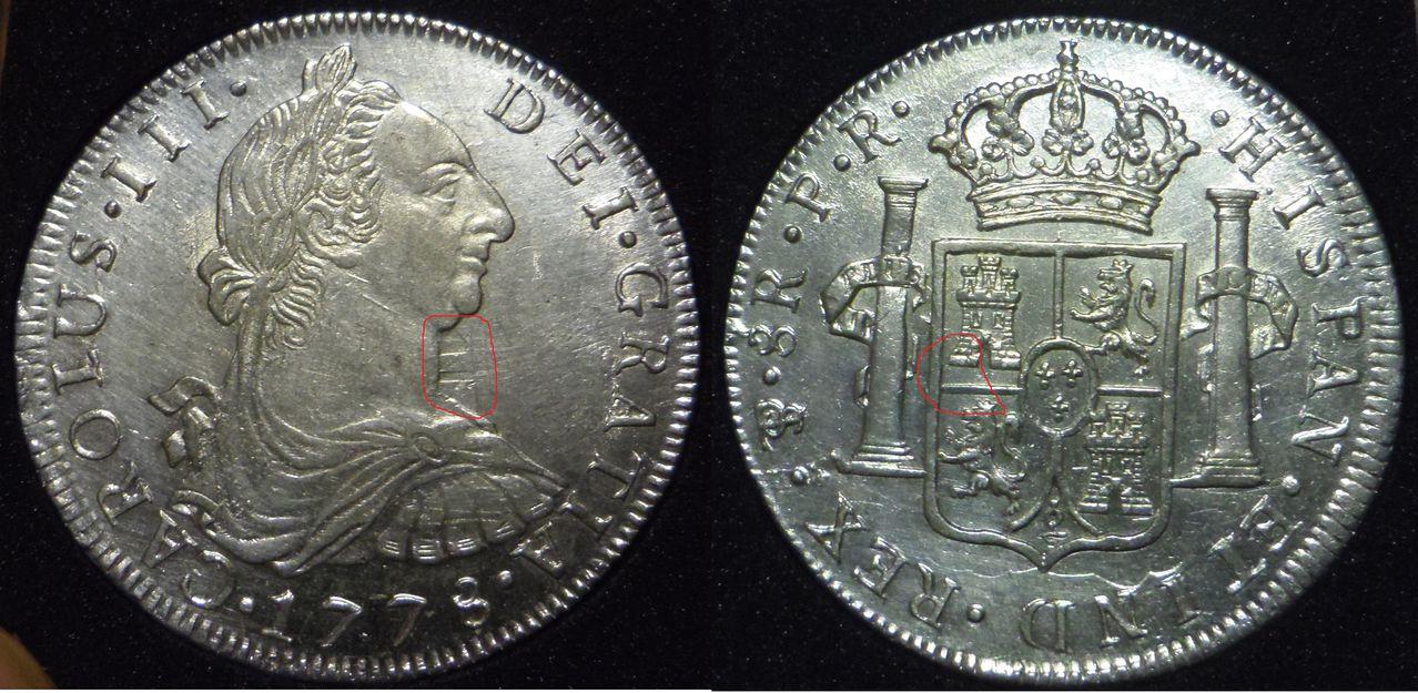 8 reales 1778. Carlos III. Potosí. SC-. Marcas_del_reverso