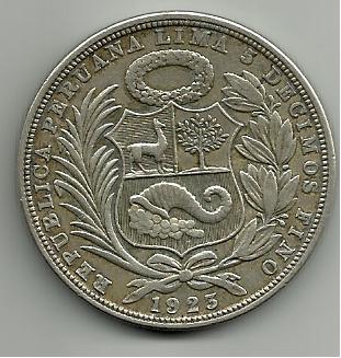 1 Sol Perú 1923  5 decimos de fino 1_sol_1923_Per_rever