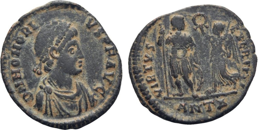 AE3 de Honorio. VIRTVS EXERCITI. Honorio